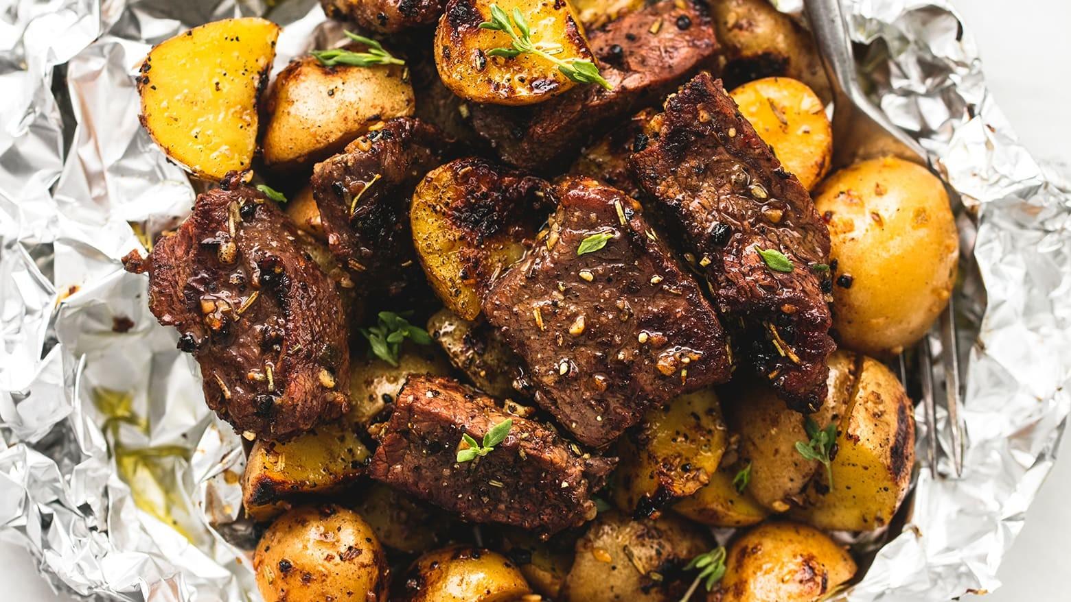 Meat in oven in foil