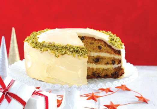 Layered White Fruit Cake with Cream Cheese Frosting ...