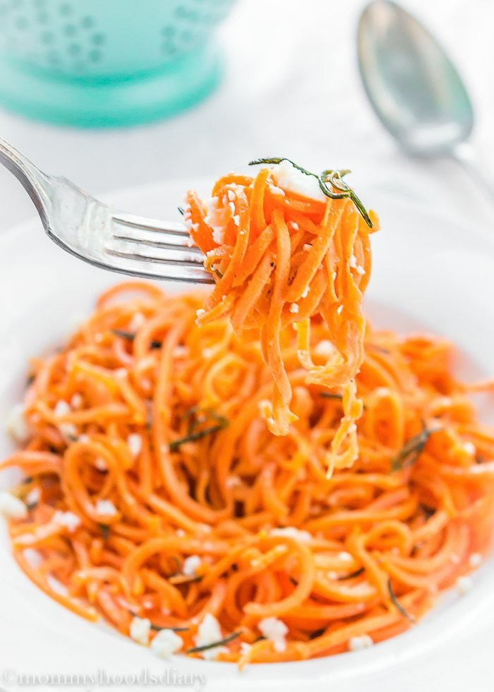 Spiralized Sweet Potato Pasta with Rosemary Brown Butter ...