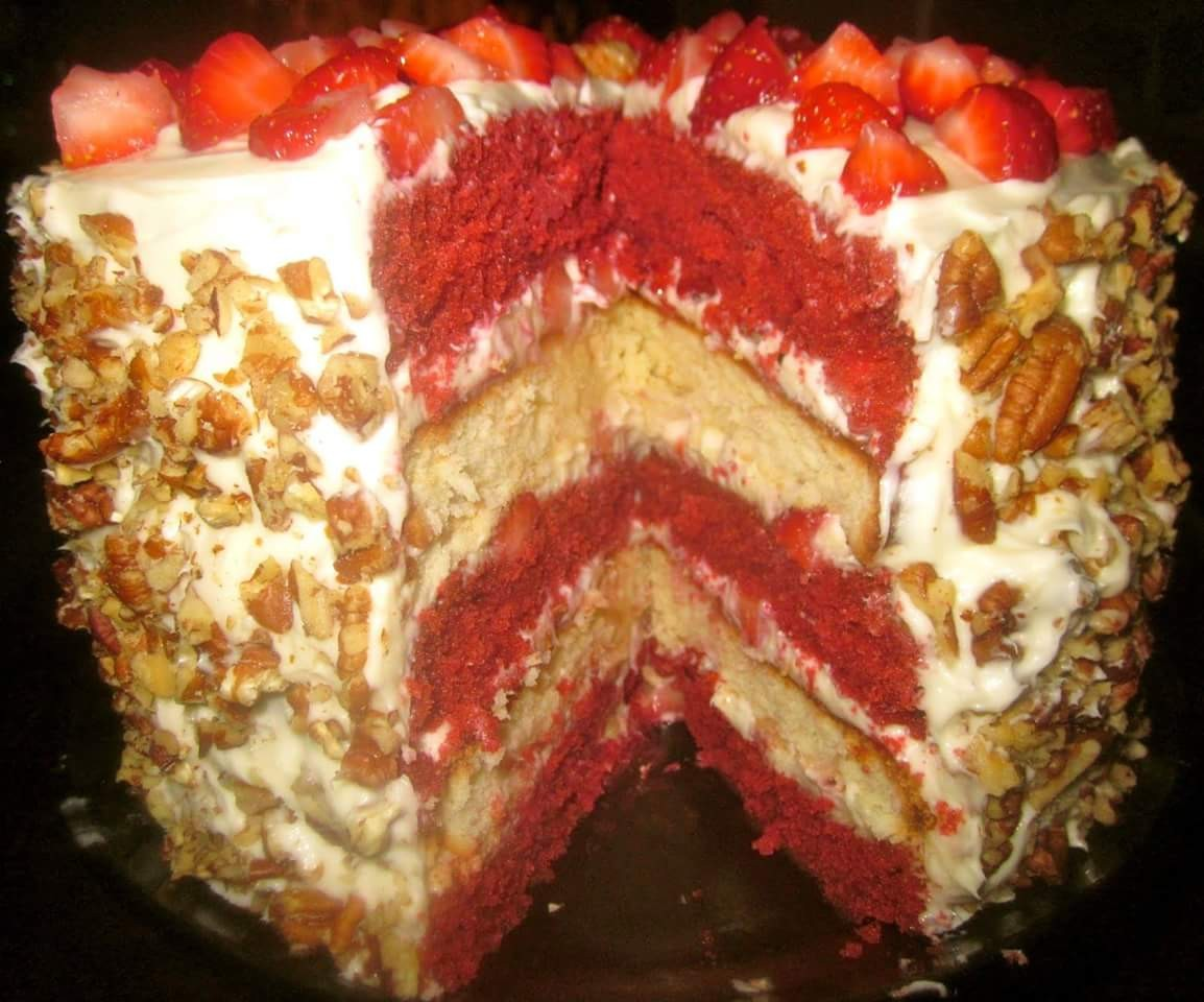 Red Velvet Strawberry Shortcake Layer Cake with Cream Cheese