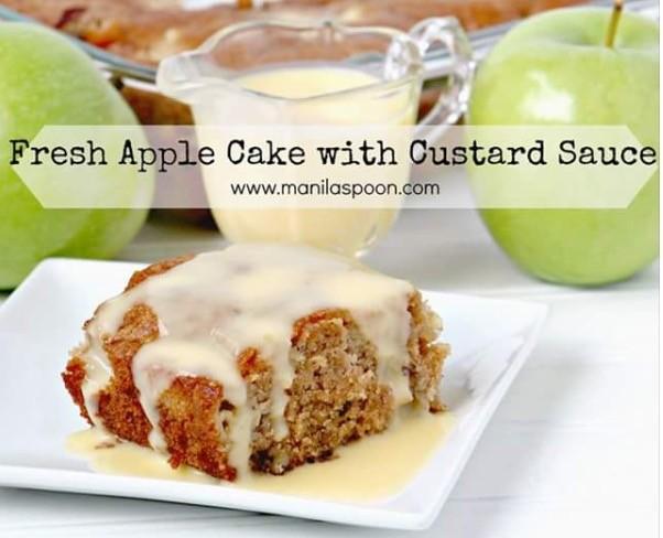 Fresh Apple Cake With Vanilla Custard Sauce Cheri Pardue Copy Me